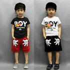 USA 2PCS Toddler Boy Kids Mickey Mouse Outfits T-shirt+Shorts Casual Clothes Set