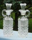 VINTAGE OIL + VINEGER CRUETS ANCHOR HOCKING WEXFORD GLASS BOTTLES W/ STOPPERS