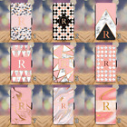 Pink Marble Monogram Initial Wallet Phone Case iPhone 4 5 SE 6 7 8 + X XR Xs Max