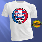 Philadelphia Phillies Logo Grateful Dead White T Shirt MLB Baseball Team Fan Tee