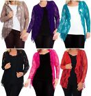 New Womens Oversized Long Sleeve Floral Pattern Lace Waterfall Cardigans 14-28