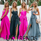 UK Womens Holiday Sleeveless Ladies Maxi Long Summer Slit Beach Dress Size 6-14
