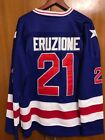 1980 Miracle On Ice Team USA Mike Eruzione 21 Hockey Jersey Blue All stitched