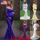 US Maternity Women Lace Photography Long Off Shoulder Pregnant Maxi Gown Dress