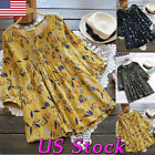 Women Casual Shirt Vintage Floral Print O Neck Tunic Tops Pl