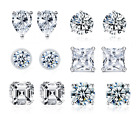 925 Sterling Silver Daily Various Cuts Studs Earrings AAAAA Cubic Zirconia Stone