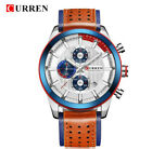 CURREN Wristwatches Leather Watch Chronograph Waterproof Quartz Watches Sport UK