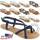 New Women  s Strappy Roman Gladiator Sandals Flats Crossover Shoes