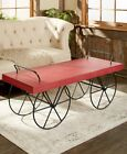 Rustic Transport-Style Wagon Coffee Table Country Home Furniture Red White or Walnut