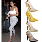 Womens Ladies Nude Clear Perspex High Heel Court Shoes Party See Through Size