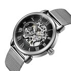 Men's Luxury Mechanical Watches Black Skeleton King Steel Hand Wind WristwatchesWristwatches - 31387