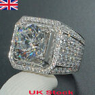 UK 18K Men White Gold Ring Plated ICED OUT Simulated Lab Diamond Band MICROPAVE