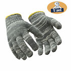 RefrigiWear Midweight Cotton String Knit Glove Liners Multicolor Gray (12 Pairs)