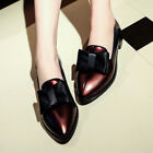 Retro Bowknot Pointy Toe Loafers Block Heels Patent Leather Sandals Comfort Shos
