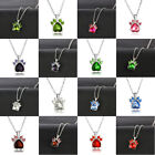 12 Months Necklace Women Girl Jewelry Crystal Heart Claw Paw Birth Stone Pendant
