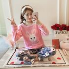 Women Ladies Sleepwear Winter Warm Long Sleeve Flannel Pajamas Set Nightwear
