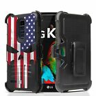For LG Harmony 2 / Phoenix Plus Armor Clip Case Punisher US Flag Spartan
