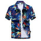 US Men's Hawaiian T Shirt Summer Holiday Floral Beach Short Sleeve Tops Blouse