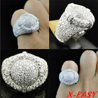 Uk Mens White Gold Plated Iced Out Hip Hop Micropave Chunky Pinky Bling Ring New