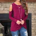 Women&#039;s Cold Shoulder Crew Neck Cut Out Long Sleeve Sweater Tops Blouse Shirt US <br/> ❤️60 Days Free Return❤️Plus Size Tunic Tops Tees S- 2XL