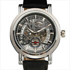 Skeleton Dial Automatic Mechanical Mens Wrist Watch Date Leather Strap Steampunk image