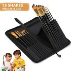 15 Pcs Paint Brush set Includes Pop up Carrying Case for Acrylic,Oil, Watercolor