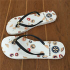 Tory Burch Straw Hat Beige Sole Women  Summer Flat Flip Flops Beach Slippers