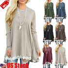 Autumn Women Lace Long Sleeve A-Line Swing Loose Tunic Top B