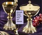 24k GOLD PLATED CHALICE PATEN CIBORIUM CATHOLIC PRIEST set for HOLY MASS