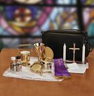 Cemetery CATHOLIC PRIEST complete travel Mass set and Holy Water pot sprinkler