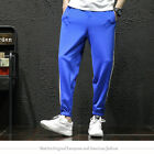 Men Poly Stripe Pants Drawstring Joggers Sport Gym Techno Track Jogging Trousers