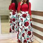 Plus Size Ladies Long Sleeve Floral Boho Women Party Bodycon Maxi Dress Clothing <br/> US Stock Free Ship* 60days Free Return *10% OFF 2+ ITEM