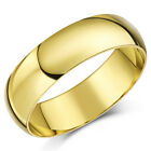 9ct Yellow Gold Ring Light Weight D Shaped Wedding Band 6mm Men's Ladies Ring