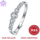 BORUO 925 Sterling Silver Ring Cubic Zircon Eternity Engagement Wedding Band4-12
