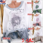 Plus S-5XL Women Retro Floral Print Long Sleeve Casual Top Pullover Shirt Blouse