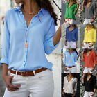 US Womens Casual chiffon V Neck Button Up Long Sleeve Solid