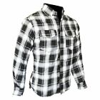 Motorcycle Cotton Shirt FULLY Lined with DuPont™ Kevlar® ARAMID S-8XL B&W