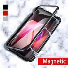 Metal Magnetic Adsorption Case For iPhone X 8 7 6s 6 Luxury Tempered Glass Cover