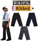 New Kids School Uniform Boys BUDGET Elasticated Waist Zip & Clip Pants Trousers