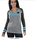 Women's New Gray NFL Carolina Panthers Logo Long Sleeve Crew T Shirt Size M or L on eBay