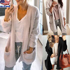 Women Long Sleeve Knitted Fluffy Cardigan Sweater Pocket Out