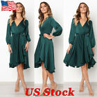 Women Wrap V Neck Long Sleeve A-line Casual Waist Bandage Cocktail Swing Dress