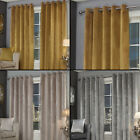 Plush Velvet Fully Lined Ring Top Eyelet Curtains - Yellow, Silver Grey, Stone