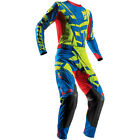 Thor Mens Lime Green/Blue/Red Prime Fit Paradigm Dirt Bike Jersey & Pants Kit MX