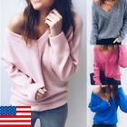 US STOCK Womens V-Neck Knitting Sweater Autumn Solid Sweet Knitwear Pullovers