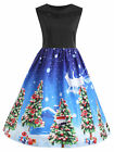 Plus Size Womens Xmas Christmas Santa Ladies Sleeveless Paty Skater Swing Dress