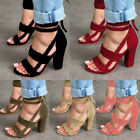 US Womens Ladies Lace Up Open Toe Sandals High Block Heel An