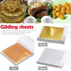 100X Gold/Silver/Rose Gold Foil Leaf Paper Food Cake Decor Edible Gilding Craft