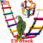 Pet Bird Wood Ladder Climb Cableway Hamster Toys Rope Parrot Bites Cage Parakeet