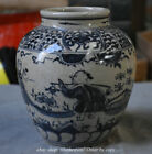 "8"" Old Chinese Yuan Blue White Porcelain Dynasty Palace Peopl Man Pot Jar Crock"